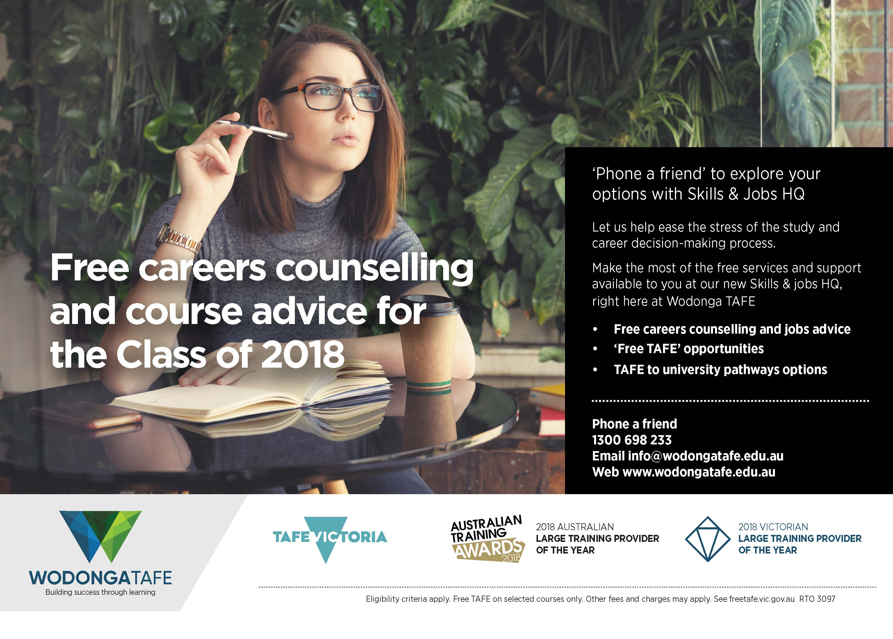 free careers and job counselling available at Wodonga TAFE